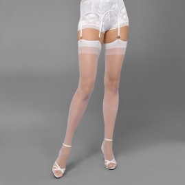 Seamless Sheer Thigh Highs in White