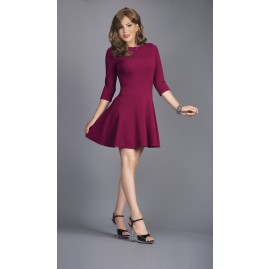 Fit and Flare Dress - Burgundy