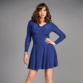 Feminine Swing Dress Blue