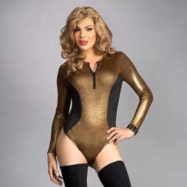Unique Bodycon Slimming Teddy Top - Gold
