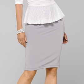 Platinum Gray Pencil Skirt