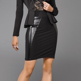 Leather Trim Contour Skirt