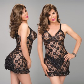 New! Popular Chemise/Slip Designed to hold Breast forms - Black Lace