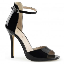 Black stiletto with open toe and closed back