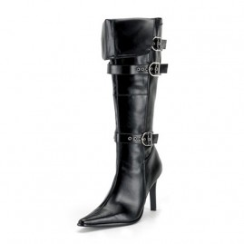 Seductive Pointed Boot with Buckle Details