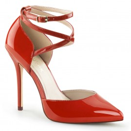Strappy D'Orsay Fashion Pump - Red Patent