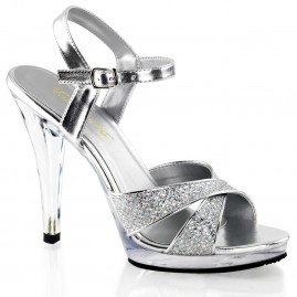 Silver sparkle heel