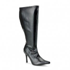 Plus Sized Boot in Black Leatherette