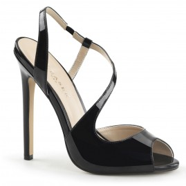 Black patent leather slingback heel