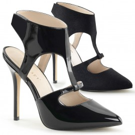 Sling Back Ankle Strap Sandal - Black Patent and Black Suede