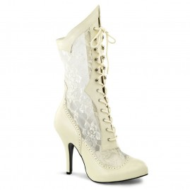 Ivory boot with white lace