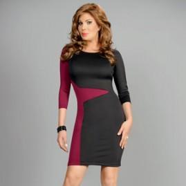 Slimming Color Block Bodycon Dress Thumbnail