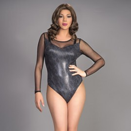The Adriana Leatherette Teddy - Gray Snake Skin