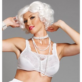 Bra with Built-in Front Camisole - Holds breastforms - white