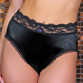 Satin Wide Lace top Panty in Black